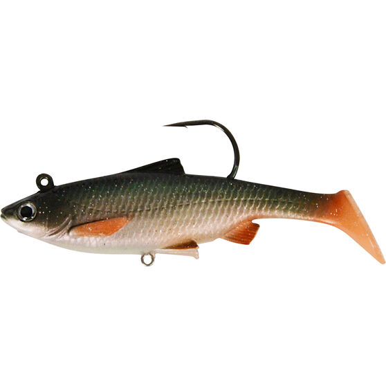 Savage Swim Mullet Soft Plastic Lure 8.5cm, Green Silver, bcf_hi-res