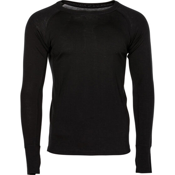 OUTRAK Men's Merino Long Sleeve Top, Black, bcf_hi-res