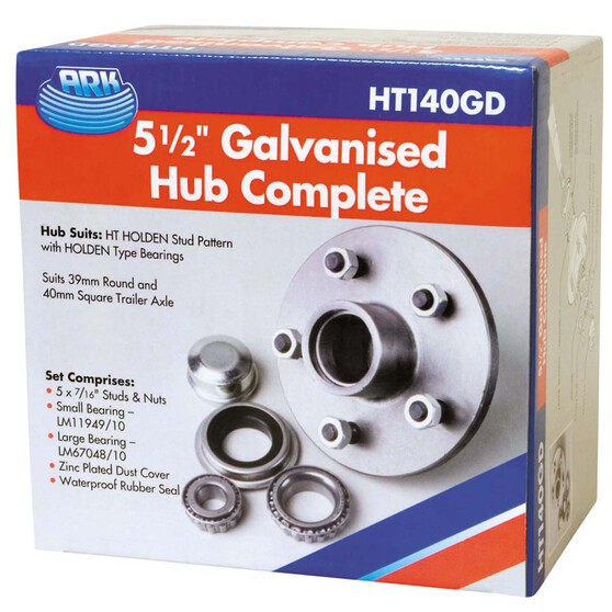 ARK Galvanised Hub to suit Holden HT 5.5in, , bcf_hi-res