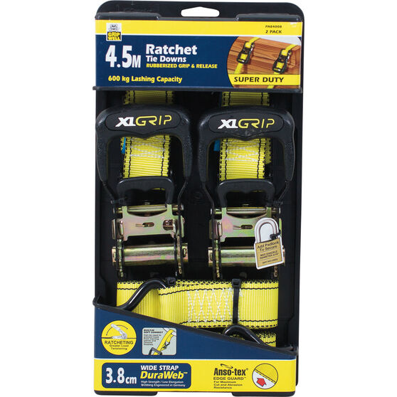Gripwell Ratchet Tie Down - 4.5m, 600kg, 2 Pack, , bcf_hi-res