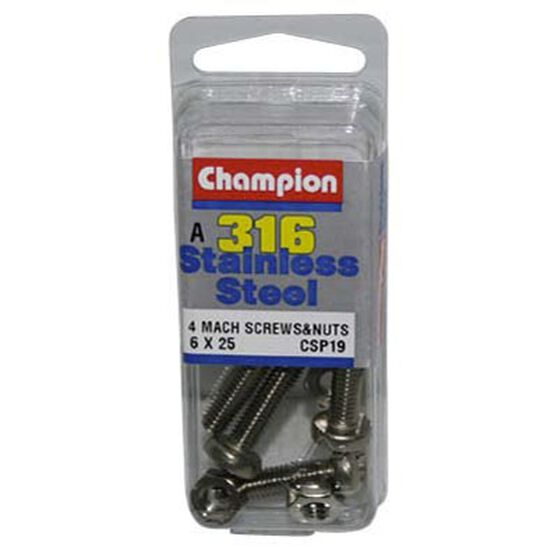 Champion Mach Screws and Nuts - 6mm X 25mm, , bcf_hi-res