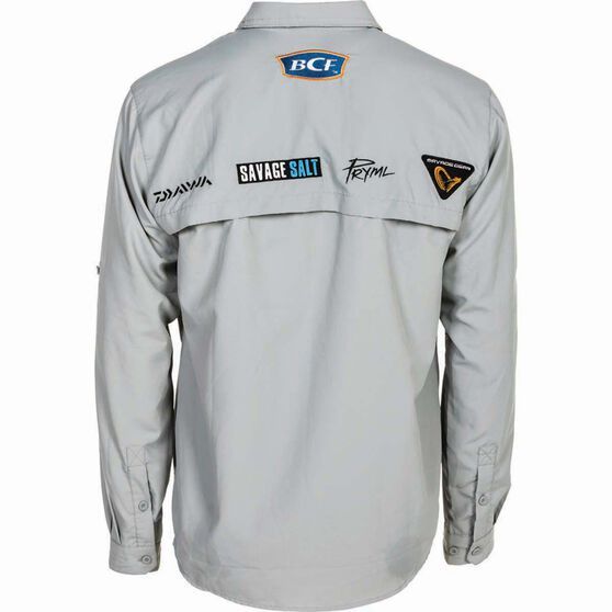 BCF Men's Long Sleeve Fishing Shirt Grey L, Grey, bcf_hi-res