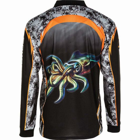 Savage Men's Squid Sublimated Polo, Black, bcf_hi-res