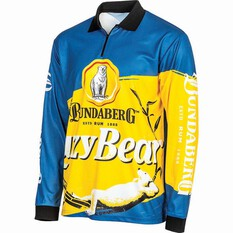 Bundaberg Rum Men's Lazy Bear Sublimated Polo Blue L, Blue, bcf_hi-res
