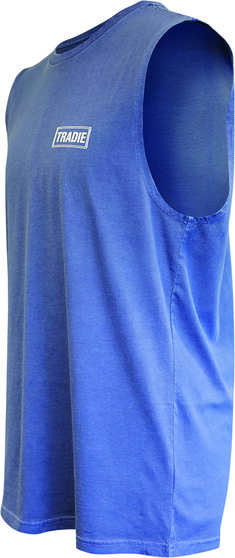 Tradie Men's Shark Attack Muscle Tank, Washed Blue, bcf_hi-res