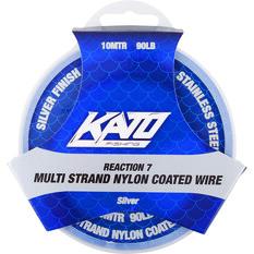 Kato 7 Strand Nylon Coated Wire Silver 10m 40lb, Silver, bcf_hi-res