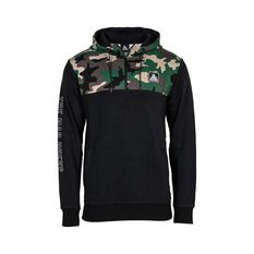 The Mad Hueys Men's Offshore Division Half Zip Hoodie Army Camo /  Black S, , bcf_hi-res