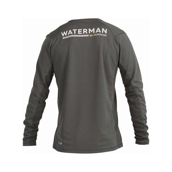 Quiksilver Waterman Men's Bamboo Check Long Sleeve Rashie, Dark Shadow, bcf_hi-res