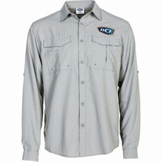 BCF Men's Long Sleeve Fishing Shirt Grey S, Grey, bcf_hi-res
