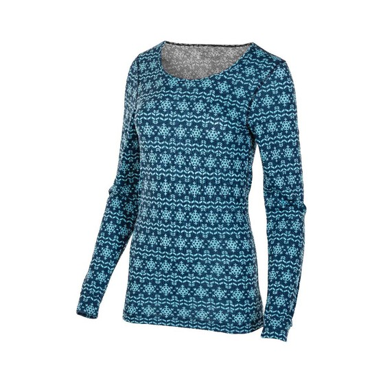 OUTRAK Print LS Top Thermal - Womens, Blue Print, 8, , bcf_hi-res