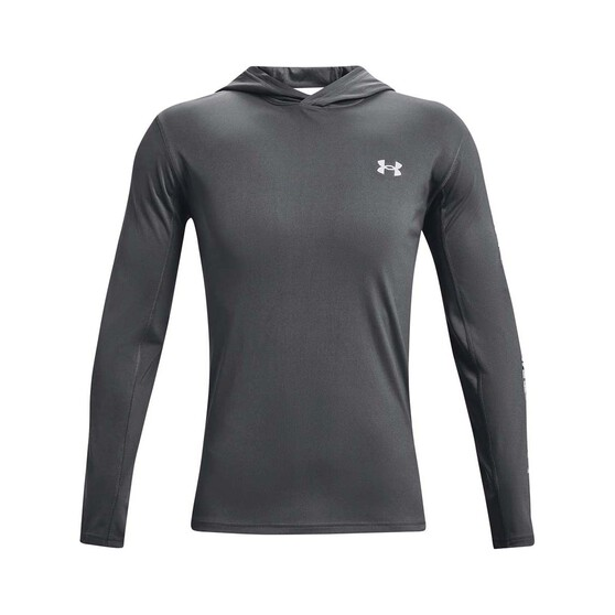 Under Armour Men's Isochill Shorebreak Hooded Sublimated Shirt, Pitch Gray / Mod Grey, bcf_hi-res