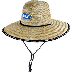 BCF Unisex Brand Straw Hat Natural 60cm, Natural, bcf_hi-res