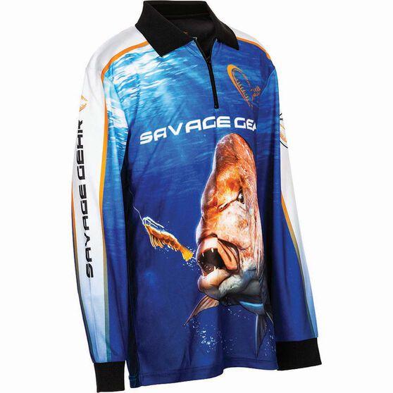 Savage Kids' Snapper Sublimated Polo Blue 8, Blue, bcf_hi-res
