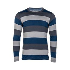 OUTRAK Stripe LS Top Thermal - Mens, Navy, S, , bcf_hi-res