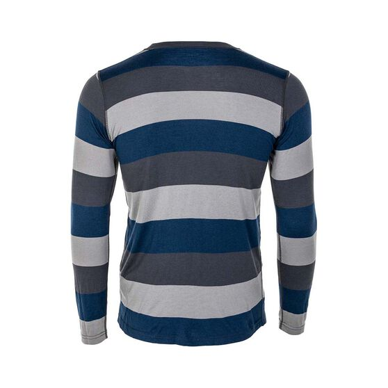 OUTRAK Stripe LS Top Thermal - Mens, Navy, S, , bcf_hi-res