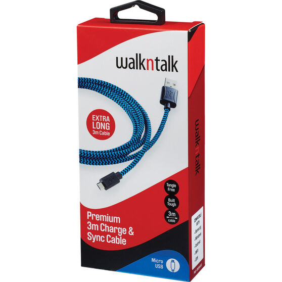 Walkntalk Micro USB Charge and Sync Cable 3m, , bcf_hi-res