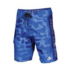 The Mad Hueys Men's Armed Camo Boardies Blue 30, Blue, bcf_hi-res