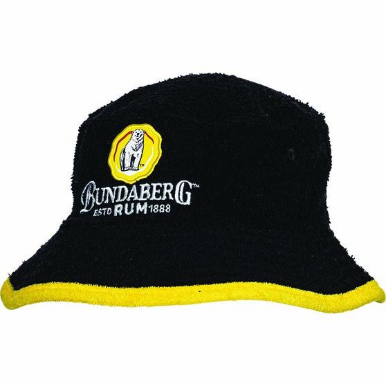 Bundaberg Rum Men's Terry Towel Bucket Hat Black OSFM, Black, bcf_hi-res