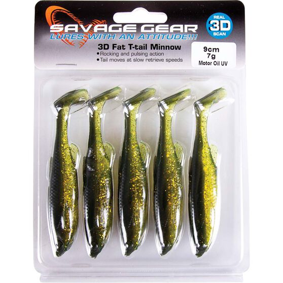 Savage Fat T Tail Soft Plastic Lure 9cm Motor Oil, Motor Oil, bcf_hi-res