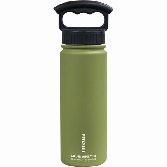 Fifty Fifty Insulated Drink Bottle 530ml Olive, Olive, bcf_hi-res