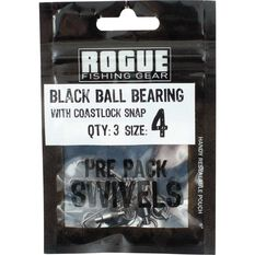 Rogue Black Ball Bearing Swivel with Coastlock Snap 3 Pack, , bcf_hi-res