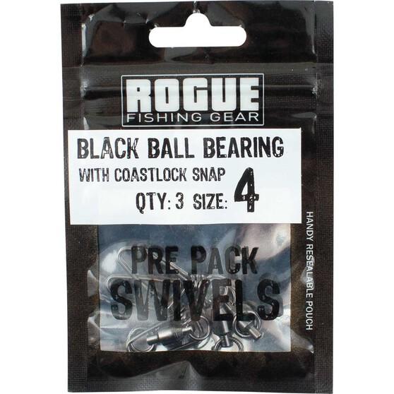 Rogue Black Ball Bearing Swivel with Coastlock Snap 3 Pack, , bcf_hi-res