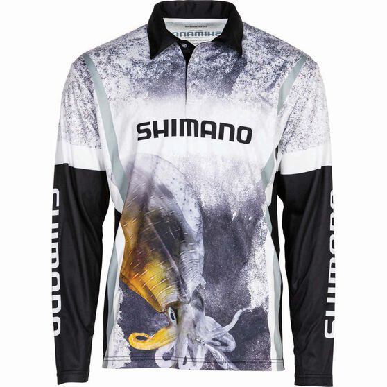 Shimano Men's Squid Sublimated Polo Black / Grey / White S, , bcf_hi-res