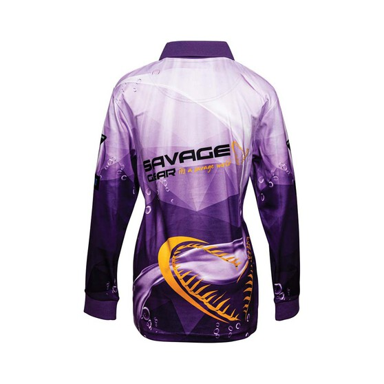 Savage Gear Youth Snapper Sublimated Polo, Purple, bcf_hi-res