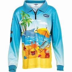 BCF Kids' Beachside Sublimated Polo Blue 4, Blue, bcf_hi-res