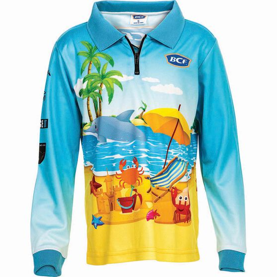 BCF Kids' Beachside Sublimated Polo Blue 5, Blue, bcf_hi-res