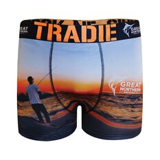 Tradie Men's Great Northern Sunrise Fishing Trunk Print S, Print, bcf_hi-res