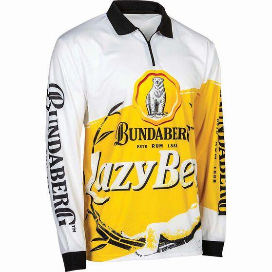 Bundaberg Rum Men's Lazy Bear Sublimated Polo, White, bcf_hi-res