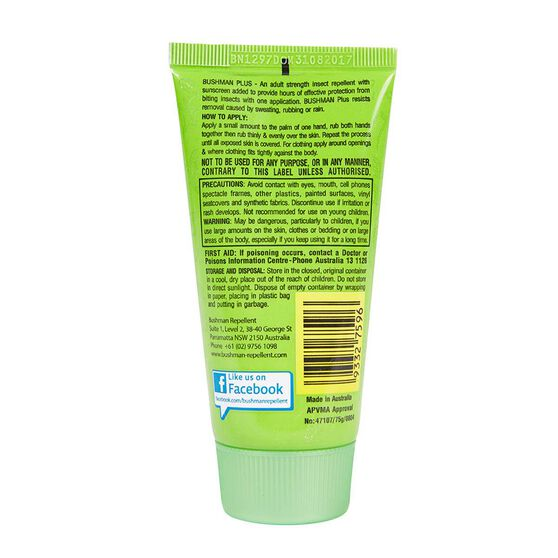 Bushman Dry Gel Insect Repellent with Sunscreen 75g, , bcf_hi-res
