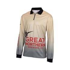The Great Northern Brewing Co. Men's Faded Sublimated Polo Sand L, Sand, bcf_hi-res