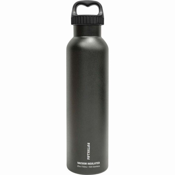 Fifty Fifty Insulated Drink Bottle 750ml Black, Black, bcf_hi-res