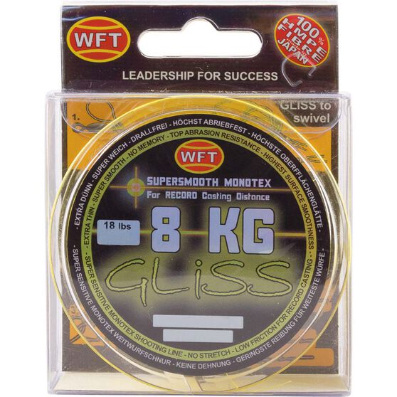 WFT HMPE Gliss Line Braid Line 300m Clear 8kg, Clear, bcf_hi-res