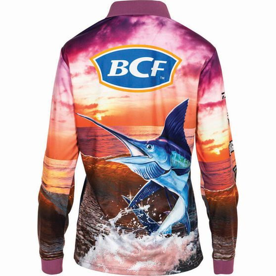 BCF Women's Marlin Sublimated Polo, Purple, bcf_hi-res