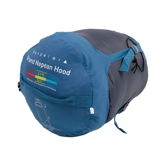 Wanderer Grand Nepean Cotton Hooded  +7.7C Sleeping Bag, , bcf_hi-res