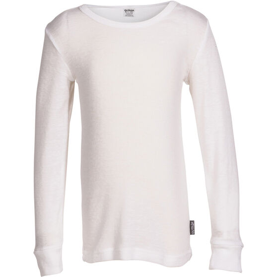 OUTRAK Kids' Polypro Long Sleeve Top, White, bcf_hi-res