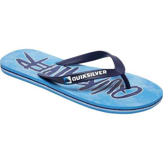 Quiksilver Men's Molokai Wordmark Thongs, Blue, bcf_hi-res