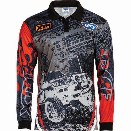 BCF Men's 4WD Sublimated Polo Grey / Red S, Grey / Red, bcf_hi-res