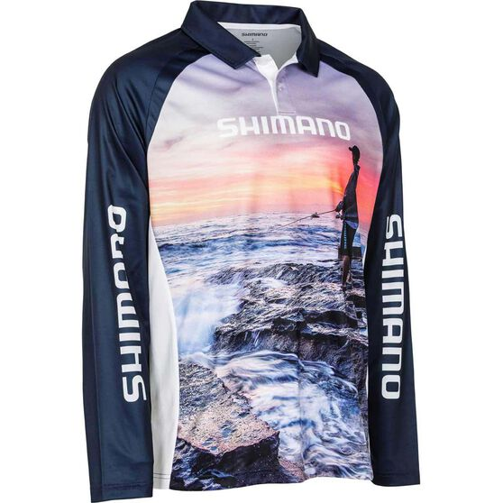 Shimano Men's Sunset Sublimated Polo Navy M, Navy, bcf_hi-res