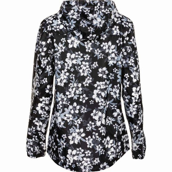 OUTRAK Printed Packaway Rain Jacket, Black Floral, bcf_hi-res