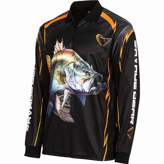 Savage Men's Barra Sublimated Polo Black XL, Black, bcf_hi-res