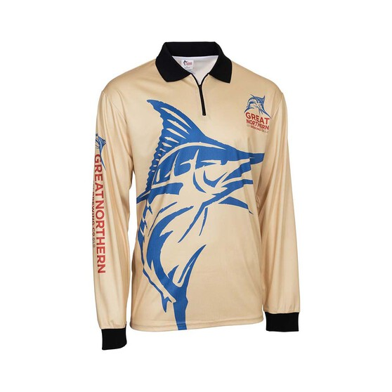 The Great Northern Brewing Co. Men's Blue Marlin Sublimated Polo Sand / Blue S, Sand / Blue, bcf_hi-res