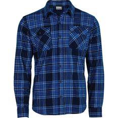 OUTRAK Men's Flannel Shirt Navy S, Navy, bcf_hi-res