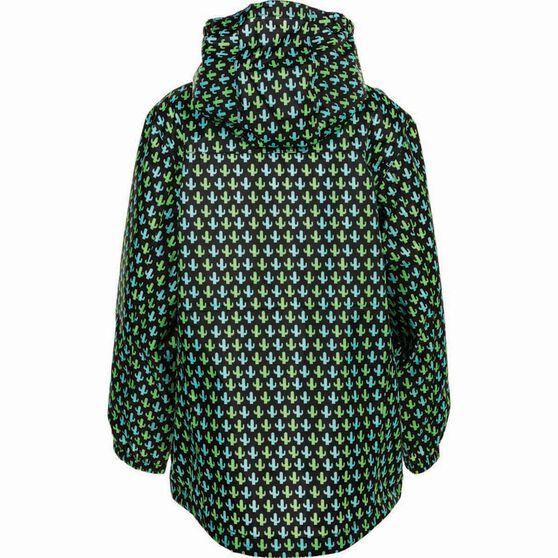 OUTRAK Printed Packaway Rain Jacket, Black / Green, bcf_hi-res