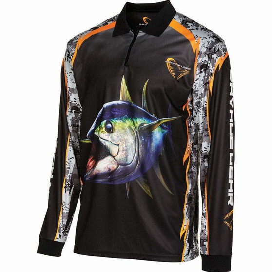 Savage Men's Tuna Sublimated Polo Black S, Black, bcf_hi-res