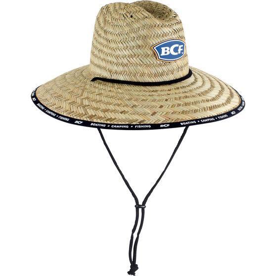 BCF Unisex Brand Straw Hat Natural 58cm, Natural, bcf_hi-res
