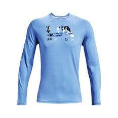 Under Armour Men's Isochill Shorebreak Camo Fill Long Sleeve Sublimated Shirt Carolina Blue S, Carolina Blue, bcf_hi-res